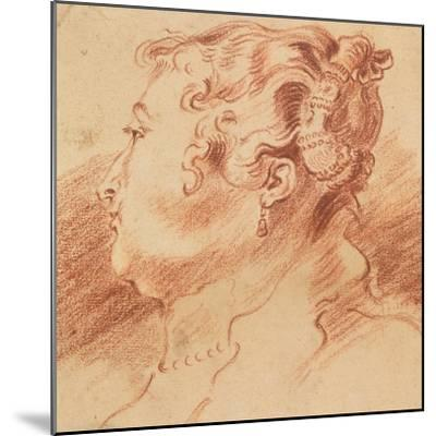 Study of Woman's Head, C. 1725-Jean Antoine Watteau-Mounted Giclee Print