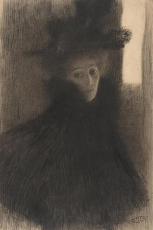 Portrait of a Lady with Cape and Hat, 1897-1898-Gustav Klimt-Stretched Canvas Print