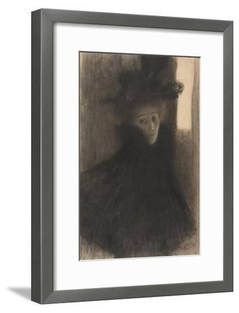 Portrait of a Lady with Cape and Hat, 1897-1898-Gustav Klimt-Framed Giclee Print