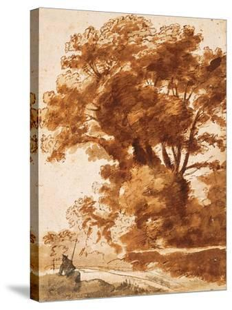 Group of Trees and Resting Sheperd, 1630S-Claude Lorraine-Stretched Canvas Print