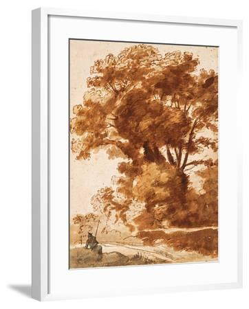 Group of Trees and Resting Sheperd, 1630S-Claude Lorraine-Framed Giclee Print