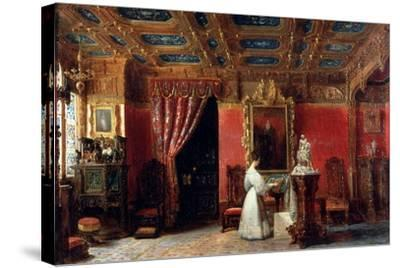 Princess Marie D?Orléans (1813-183), Duchess of Württemberg, in Her Atelier-Prosper Lafaye-Stretched Canvas Print