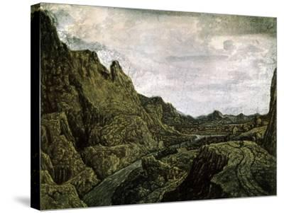 Rocky Valley with a Road, 17th Century-Hercules Seghers-Stretched Canvas Print