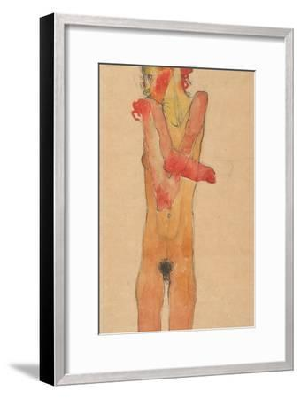 Nude Girl with Folded Arms, 1910-Egon Schiele-Framed Giclee Print