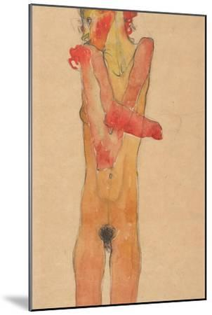 Nude Girl with Folded Arms, 1910-Egon Schiele-Mounted Giclee Print
