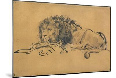 Lion Resting, Turned to the Left, C1650-Rembrandt van Rijn-Mounted Giclee Print