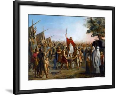 Pharamond, Raised on a Shield by the Franks-Michel Philibert Genod-Framed Giclee Print