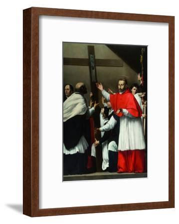 The Exaltation of the Holy Nail with Saint Charles Borromeo-Carlo Saraceni-Framed Giclee Print