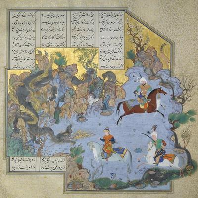 Faridun in the Guise of a Dragon Tests His Sons- Aqa Mirak-Stretched Canvas Print