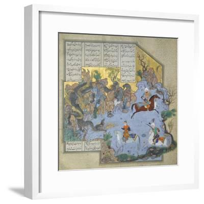 Faridun in the Guise of a Dragon Tests His Sons- Aqa Mirak-Framed Giclee Print
