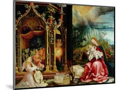 The Isenheim Altarpiece, Central Panel: Concert of Angels and Nativity, 1506-1515-Matthias Gr?newald-Mounted Giclee Print