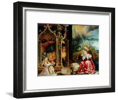 The Isenheim Altarpiece, Central Panel: Concert of Angels and Nativity, 1506-1515-Matthias Gr?newald-Framed Giclee Print