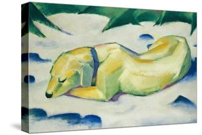 Dog Lying in the Snow-Franz Marc-Stretched Canvas Print