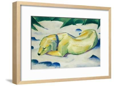 Dog Lying in the Snow-Franz Marc-Framed Giclee Print