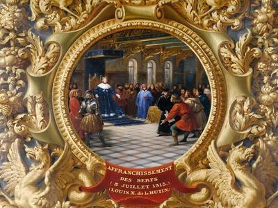 Louis X the Mischievous Emancipates the Serfs in 1315-Jean Alaux-Framed Giclee Print