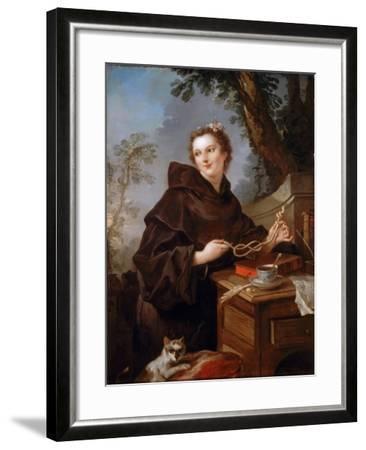 Louise Anne De Bourbon (1695-175), Countess of Charolais-Charles Joseph Natoire-Framed Giclee Print