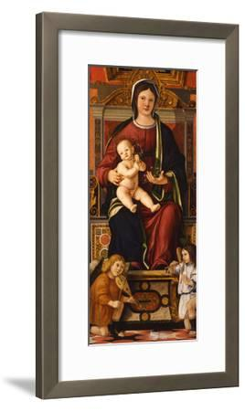 The Virgin and Child Enthroned with Two Musician Angels, 1508-1510-Cristoforo Caselli-Framed Giclee Print