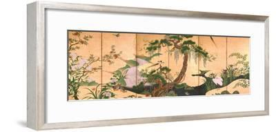 Birds and Flowers of Spring and Summer, Second Half of the 17th C-Kano Eino-Framed Giclee Print