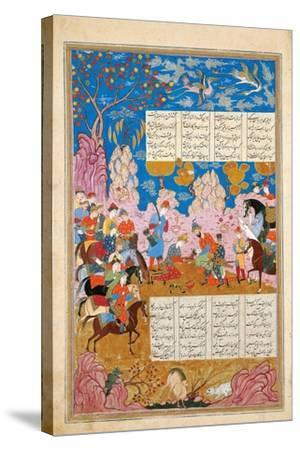 The Slaying of Siyawush (Manuscript Illumination from the Epic Shahname by Ferdows)--Stretched Canvas Print