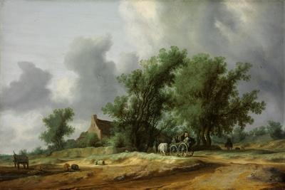 Road in the Dunes with a Carriage-Salomon Jacobsz van Ruisdael-Framed Giclee Print
