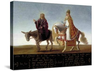 Christ on a Donkey, the Pope on Horseback--Stretched Canvas Print