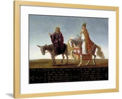 Christ on a Donkey, the Pope on Horseback--Framed Giclee Print