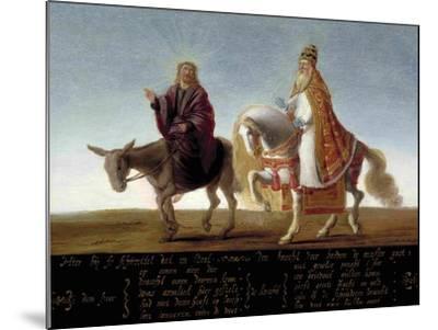 Christ on a Donkey, the Pope on Horseback--Mounted Giclee Print