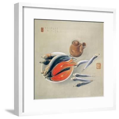 Still Life. Salmon Slices and Sardines, 1924-Tsuchida Bakusen-Framed Giclee Print