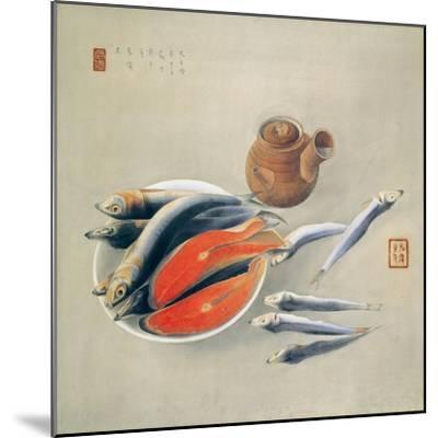 Still Life. Salmon Slices and Sardines, 1924-Tsuchida Bakusen-Mounted Giclee Print