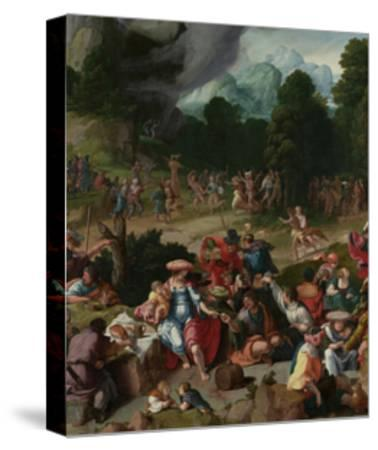 Triptych with the Adoration of the Golden Calf-Lucas van Leyden-Stretched Canvas Print