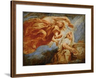 Genius Crowning Religion. Sketch for the Apotheosis of King James I-Peter Paul Rubens-Framed Giclee Print