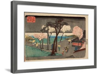 Cherry Trees in Rain on the Sumida River Embankment. (Sumida Zutsumi Uchû No Sakur)-Utagawa Hiroshige-Framed Giclee Print