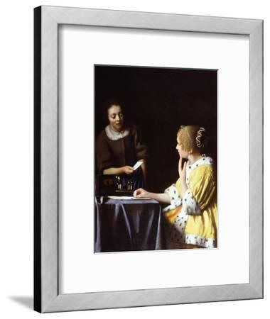 Lady with Her Maidservant Holding a Letter-Johannes Vermeer-Framed Giclee Print