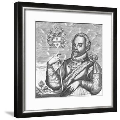 Portrait of Sir Francis Drake. (Frontispiece from the World Encompasse), 1628--Framed Giclee Print