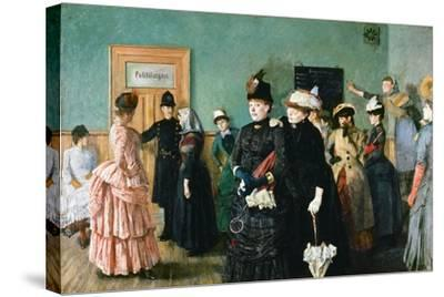 Albertine at the Police Doctor's Waiting Room-Christian Krohg-Stretched Canvas Print