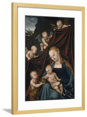 The Virgin and Child with Saint John and Angels-Lucas Cranach the Elder-Framed Giclee Print
