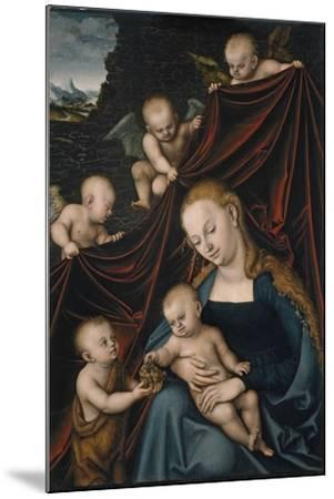 The Virgin and Child with Saint John and Angels-Lucas Cranach the Elder-Mounted Giclee Print