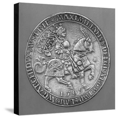 Emperor Maximilian I on Horseback. Thaler Coin from Hall-Ulrich Ursentaler the Elder-Stretched Canvas Print