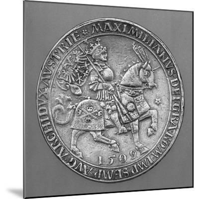 Emperor Maximilian I on Horseback. Thaler Coin from Hall-Ulrich Ursentaler the Elder-Mounted Giclee Print