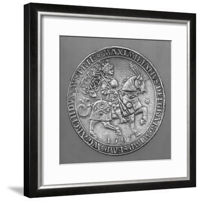 Emperor Maximilian I on Horseback. Thaler Coin from Hall-Ulrich Ursentaler the Elder-Framed Giclee Print