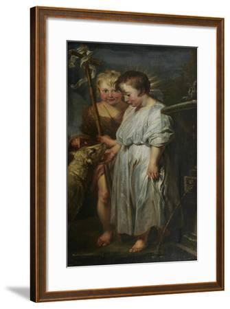 Christ and John the Baptist as Children-Peter Paul Rubens-Framed Giclee Print