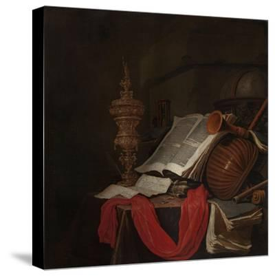 Still Life with Musical Instruments and Books-Jan Vermeulen-Stretched Canvas Print