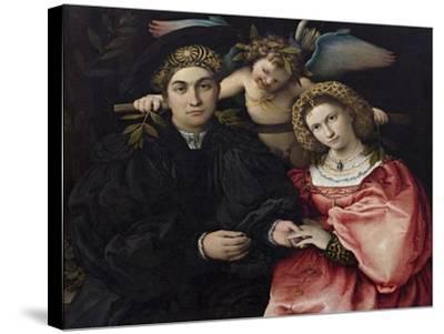 Portrait of Marsilio Cassotti and His Bride Faustina-Lorenzo Lotto-Stretched Canvas Print