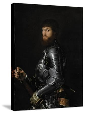 Portrait of a Nobleman in Armour, Between 1540 and 1560-Giovan Battista Moroni-Stretched Canvas Print