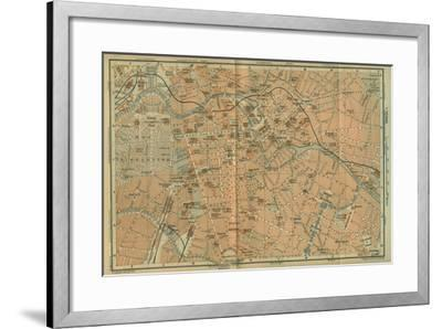 Map of Berlin Center, from a Travel Guide Baedeker's Northeast Germany, 1892- Leipzig Wagner & Debes-Framed Giclee Print