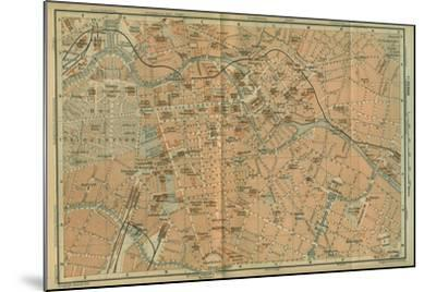 Map of Berlin Center, from a Travel Guide Baedeker's Northeast Germany, 1892- Leipzig Wagner & Debes-Mounted Giclee Print