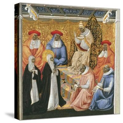 Saint Catherine of Siena before the Pope at Avignon-Giovanni di Paolo-Stretched Canvas Print