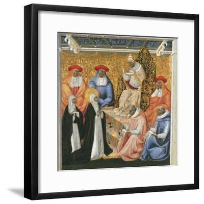 Saint Catherine of Siena before the Pope at Avignon-Giovanni di Paolo-Framed Giclee Print