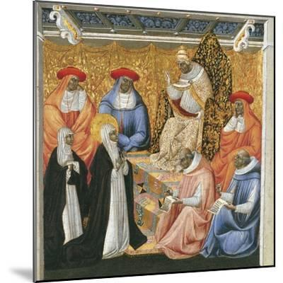 Saint Catherine of Siena before the Pope at Avignon-Giovanni di Paolo-Mounted Giclee Print