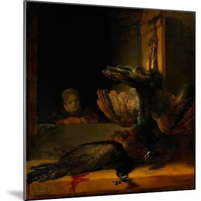Still Life with Two Peacocks and a Girl, Ca 1639-Rembrandt van Rijn-Mounted Giclee Print